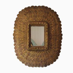 Specchio grande vintage in legno intagliato e dorato
