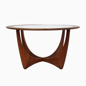 Mid-Century Astro Teak & Glass Round Coffee Table by Victor Wilkins for G-Plan