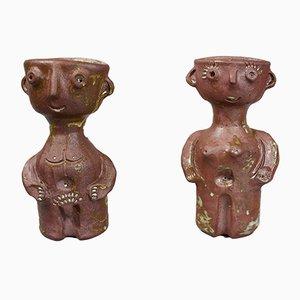 Vases Anthropomorphiques Modeled Earth par Jacques Pouchain, Set de 2
