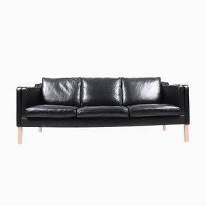 Danish Black Leather Sofa, 1980s