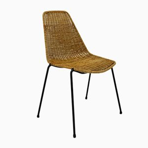 Rattan Basket Chair by Gian Franco Legler for J. Bally, 1950s