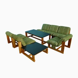 Vintage Spruce Living Room Suite with 2 Coffee Tables, 1960s