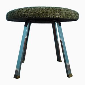 Industrial Stool in Metal & Brass, 1950s