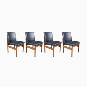 Mid-Century Danish Teak and Vinyl Dining Chairs, 1970s, Set of 4