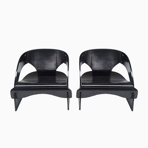 Black Plywood Chairs by Joe Colombo, 1960s, Set of 2