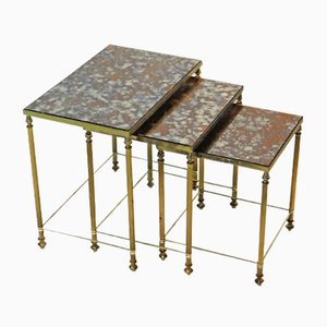 Vintage French Brass Nesting Tables, Set of 3