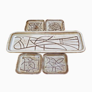 Serving Platter and Small Plate Set by Jacques Pouchain, 1950s