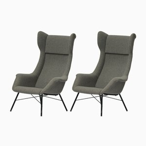 Wingback Armchairs by Miroslav Navrátil for TON, 1960s, Set of 2
