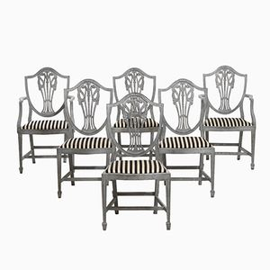Antique Armchairs and Chairs Set with Fine Carvings