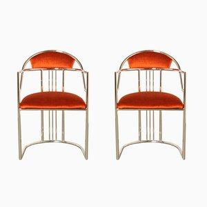 Orangenfarbene Vintage Stühle, 2er Set