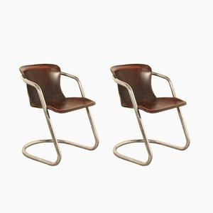 Chrom Esszimmerstühle von Willy Rizzo für Cidue, 1970er, 2er Set