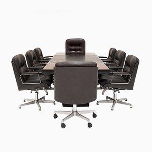 Tavolo da conferenza vintage con 8 sedie da scrivania di Osvaldo Borsani per Tecno