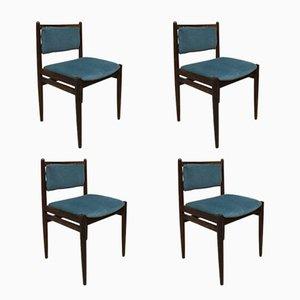 Dänische Esszimmerstühle mit Samtbezug, 1960er, 4er Set