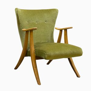 Danish Velvet Wingback Chair, 1950s