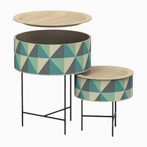 Tavolini a incastro a forma di tamburo di Zp Studio per Dialetto Design