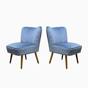 Mid-Century Blue Velvet Chairs, 1950s, Set of 2