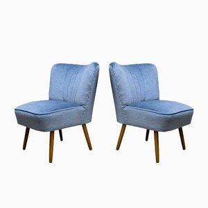 Mid-Century Sessel in Blauem Samt, 1950er, 2er Set