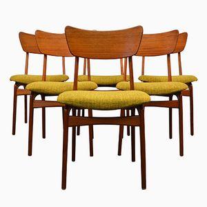 Dänische Esszimmerstühle aus Grünem Stoff, 1960er, 6er Set