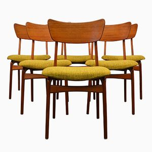 Danish Green Fabric Dining Chairs, 1960s, Set of 6