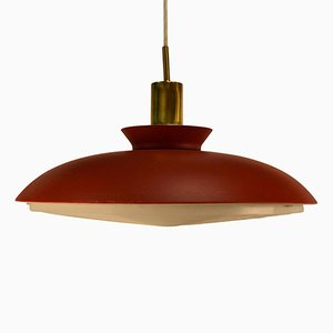 Danish Red Pendant Light, 1960s