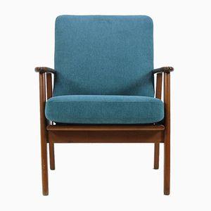 Mid-Century Danish Blue Armchair, 1960s