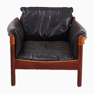 Vintage Black Leather Lounge Chair with Supporting Leather Belts