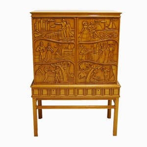 Carved Bar Cabinet with Mirror by Eugen Höglund, 1956