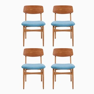 Vintage Teak Dining Chairs with Light Blue Upholstery, Set of 4