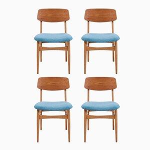 Vintage Teak Esszimmerstühle mit Hellblauem Bezug, 4er Set