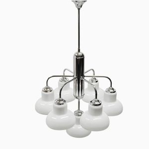 Art Deco 7-Arm Ceiling Lamp in Chrome & Glass