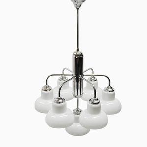Art Deco Deckenlampe mit 7 Leuchten aus Chrom & Glas