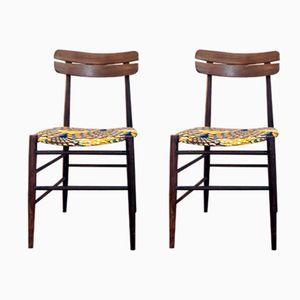 Italian Walnut Chairs, 1960s, Set of 2