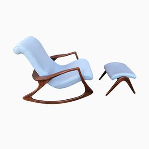 Rocking Chair Vintage avec Repose-pied, 1960s