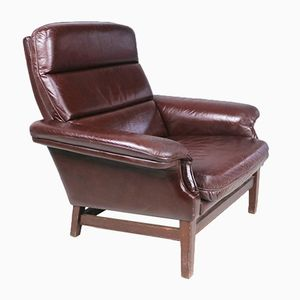 Mid-Century Danish Brown Leather Club Chair