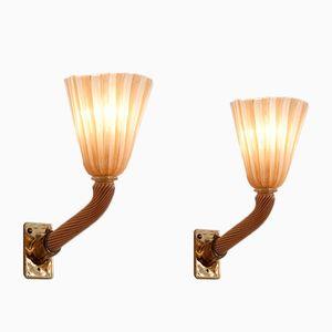 Murano Glas Wandlampen von Venini, 1950er, 2er Set