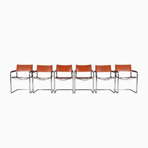 S34 Tubular Steel Dining Chairs by Mart Stam for Jox Interni, 1970s, Set of 6