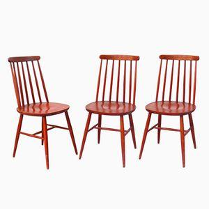 Red Fanett Chairs by Illmari Tapiovaara, 1960s, Set of 3