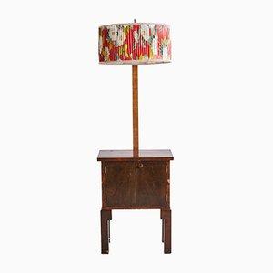 Walnuss Schrank mit Lampe, 1970er