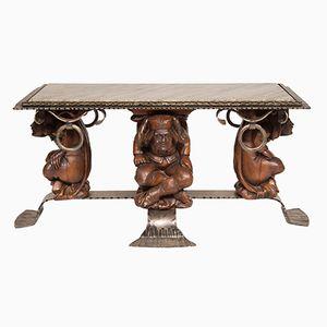 Table Basse Vintage avec Plateau en Marbre par Jean Maurice Rothschild