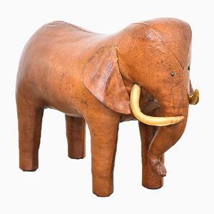 Vintage Leather Elephant Footstool by Dimitri Omersa for Abercrombie & Fitch