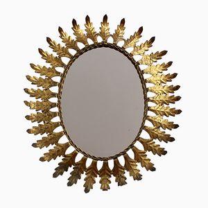 Specchio a forma di sole in metallo dorato, Spagna, anni '50