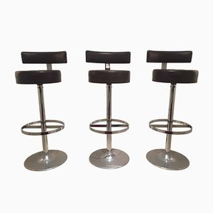 Chromed Swivel Tulip Bar Stools, 1960s, Set of 3