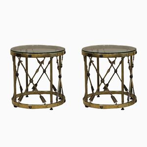 Neoclassical Brass Occasional Tables, 1970s, Set of 2