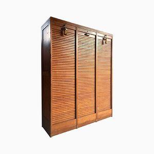 Mid-Century French Haberdashery Oak Cabinet