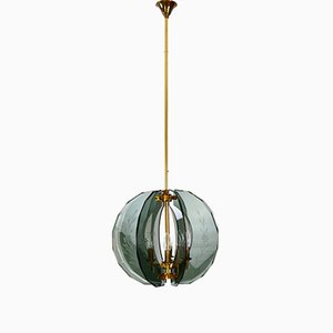 Mid-Century Italian Brass and Green Cut Glass Chandelier, 1950s