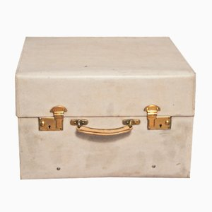 Small Beige Vellum Steamer Trunk from Drew and Son, 1920s