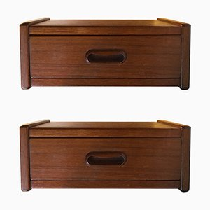 Danish Modern Floating Teak Bedside Tables, 1960s, Set of 2