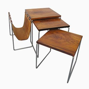 Mid-Century Set of Nesting Tables with Magazine Rack from Brabantia