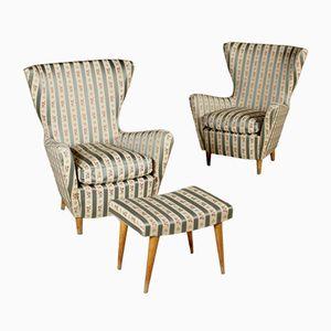 Mid-Century Armchairs & Footstool