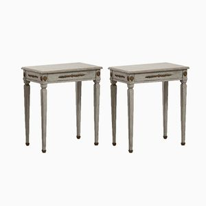 19th Century Carved Gustavian-Style Side Tables, Set of 2